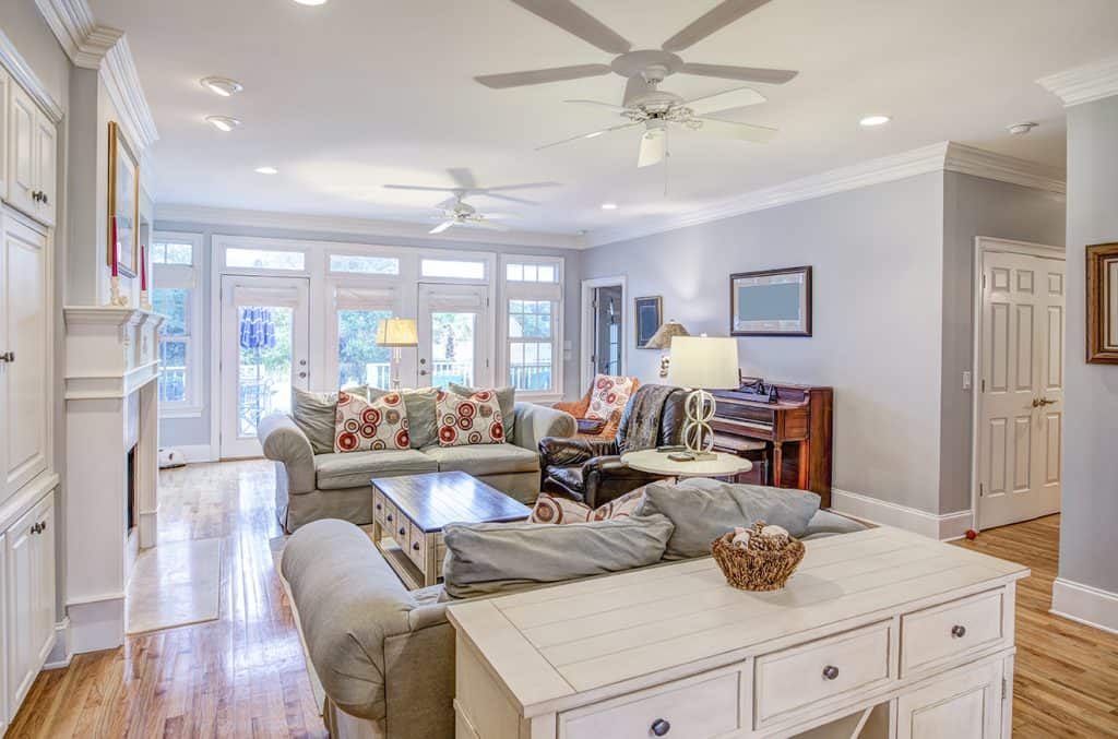 Comfortable Living Room with Ceiling Fans